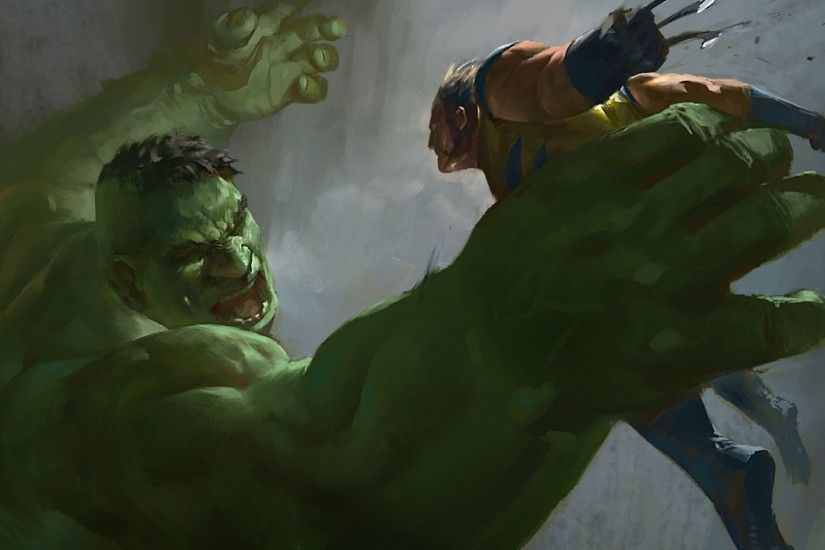Preview wallpaper hulk, wolverine, x-men, marvel comics, art 1920x1080