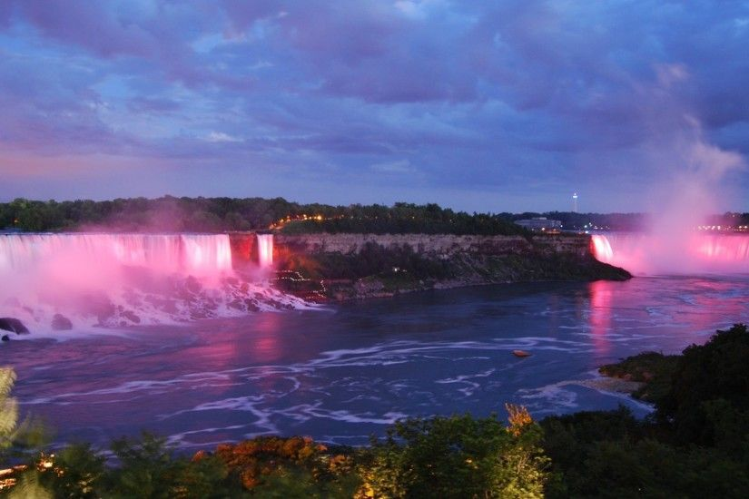 Falls Twilight Niagra Night Waterfalls Clouds Niagara Sky Nature Waterfall  Scenery Desktop Wallpapers - 1920x1200