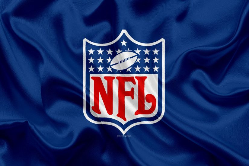 National Football League, NFL logo, emblem, NFL, USA, silk flag,