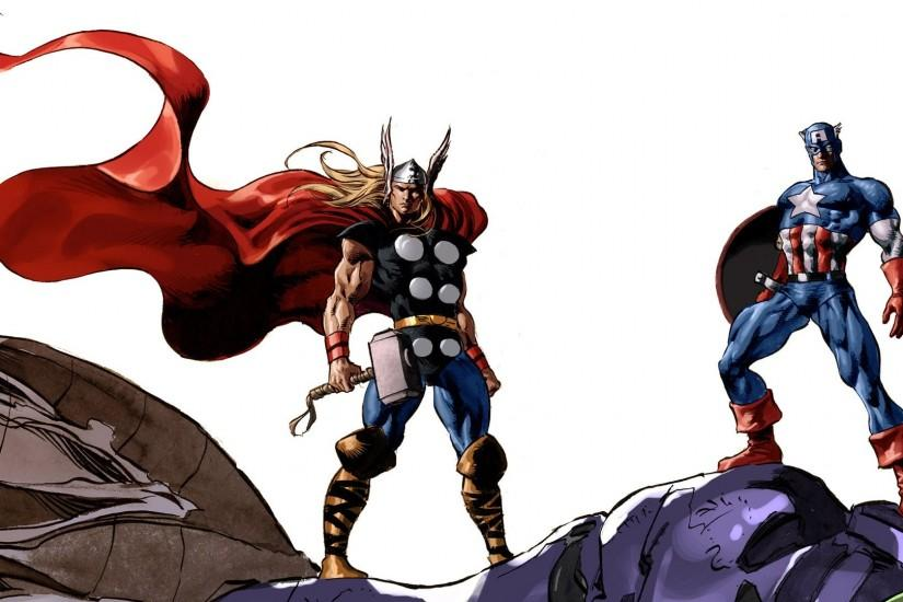 comics Thor Captain America Marvel Comics wallpaper background