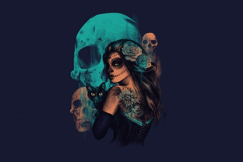 Women Sugar Skull Skulls Artwork Fantasy Art Wallpaper