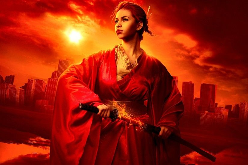Fantasy - Women Warrior Red Warrior Fantasy Wallpaper