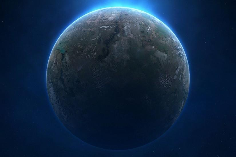 Alien planet from space background