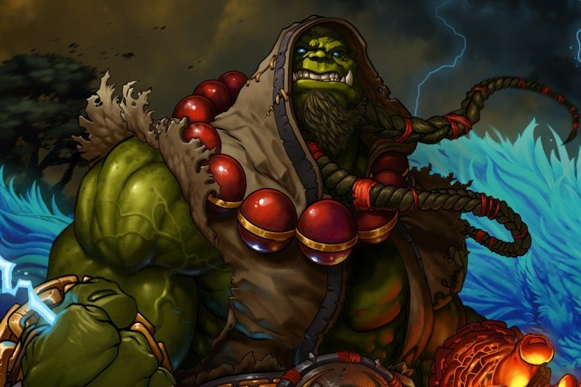 Preview wallpaper world of warcraft, shaman, thrall, blizzard, lightning,  orc 2048x2048