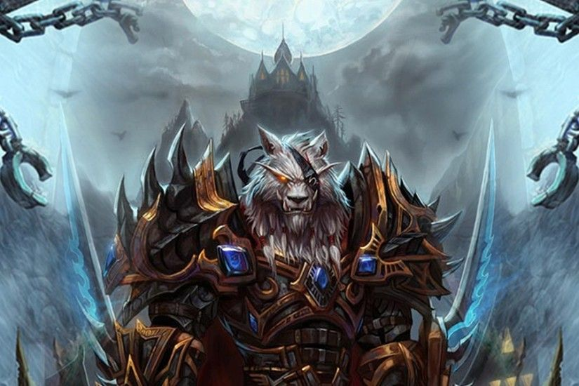 3840x1200 Wallpaper world of warcraft, worgen, character, arm, mountain