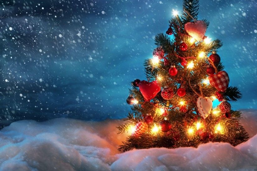 Preview wallpaper tree, new year, christmas, snow, holiday, night, garland