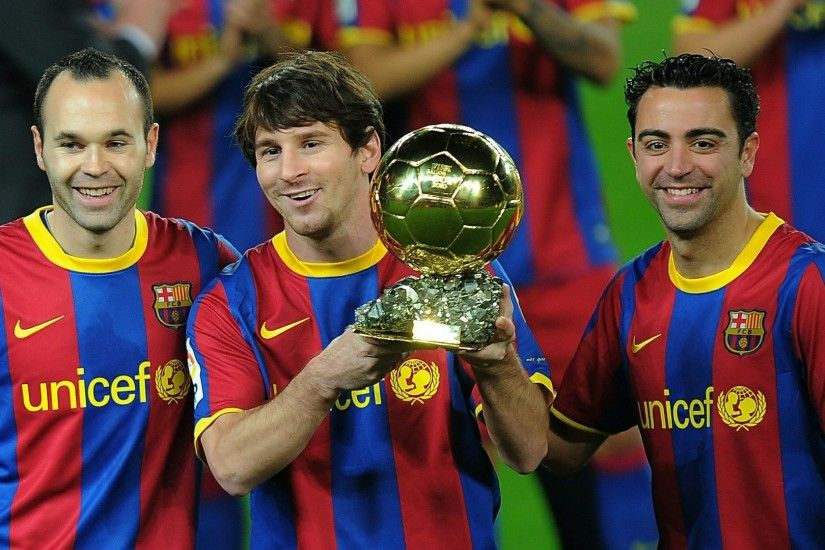 Download Lionel Messi, Xavi and Andres Iniesta wallpaper (1920x1080)