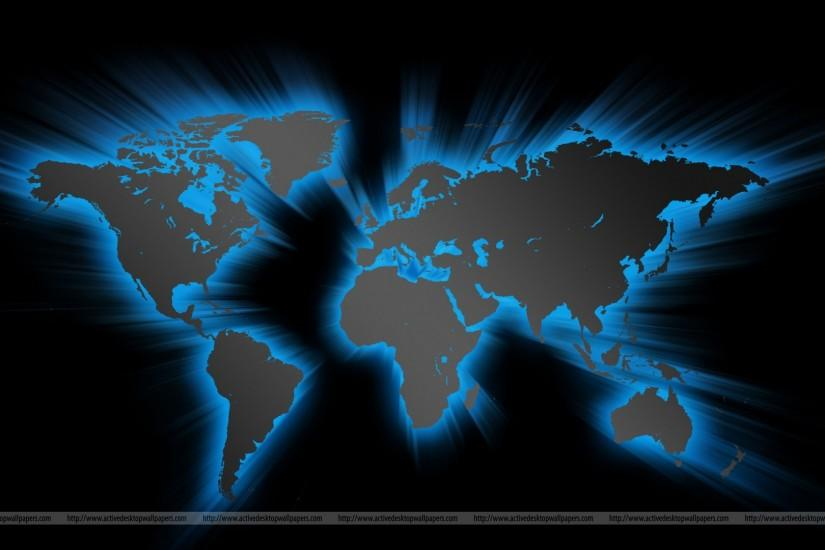 Stylish world map background in blue color on a dark background, three  similar maps set. Very detailed graphic freebie created in Photoshop.