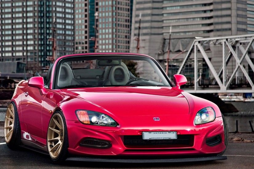 1920x1080 Wallpaper honda, city, red, front view, roadster, s2000