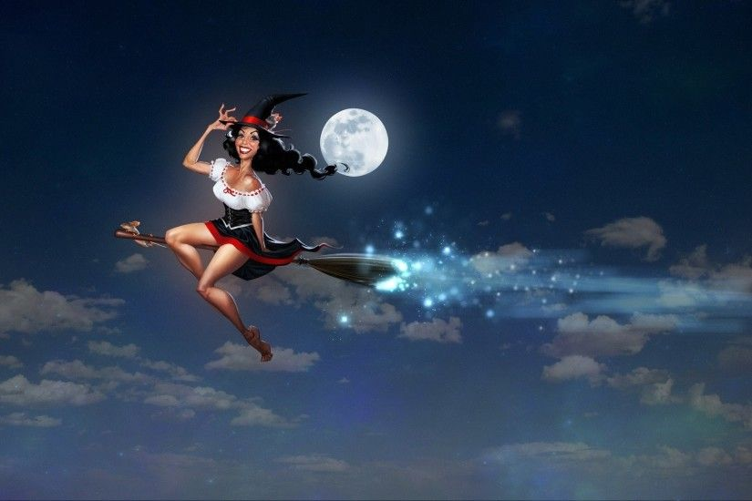 Witch On Her Broom Under The Full Moon