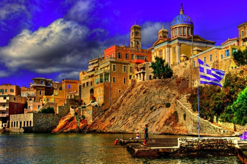 Preview wallpaper greece, city, sky, buildings 3840x2160