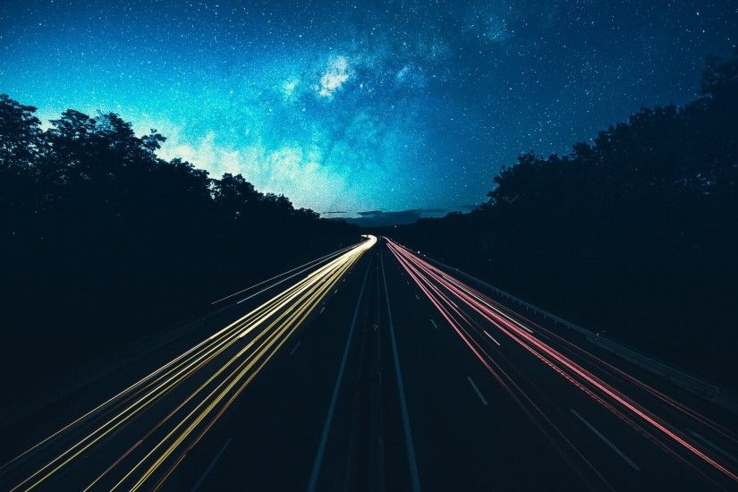 night, Sky, Road, Lights, Stars Wallpaper HD