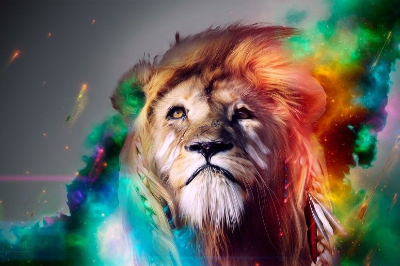 Wallpaper Lion, Big cat, Face, Smoke, Colored