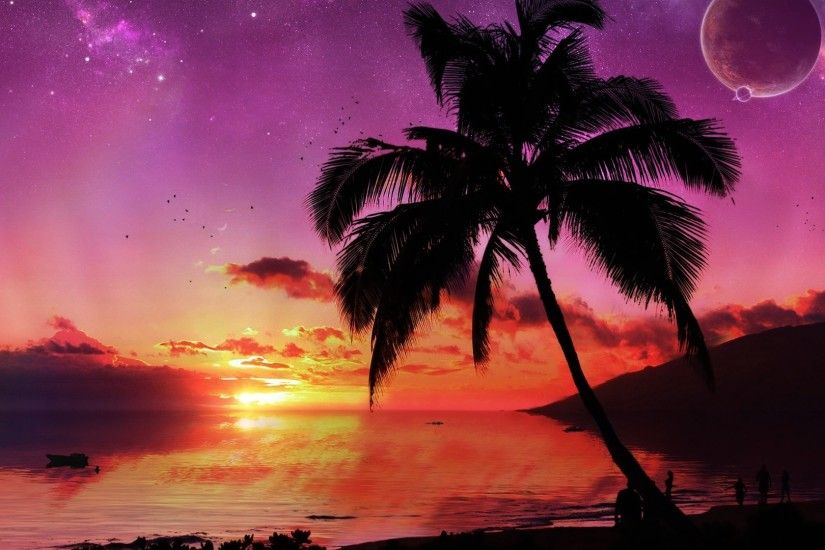 Hd Wallpaper Tropical Island Paradise Beach Sunset Art 1920x1080px