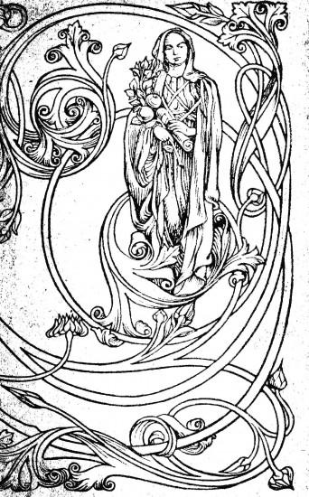 Design - Paper - Art nouveau, line drawing of woman and vines