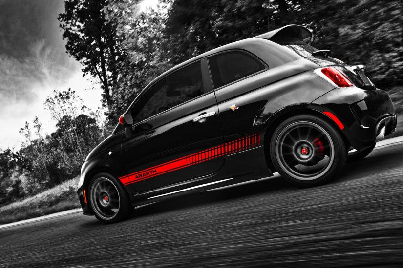 Fiat 500 Abarth Side Angle wallpapers and stock photos