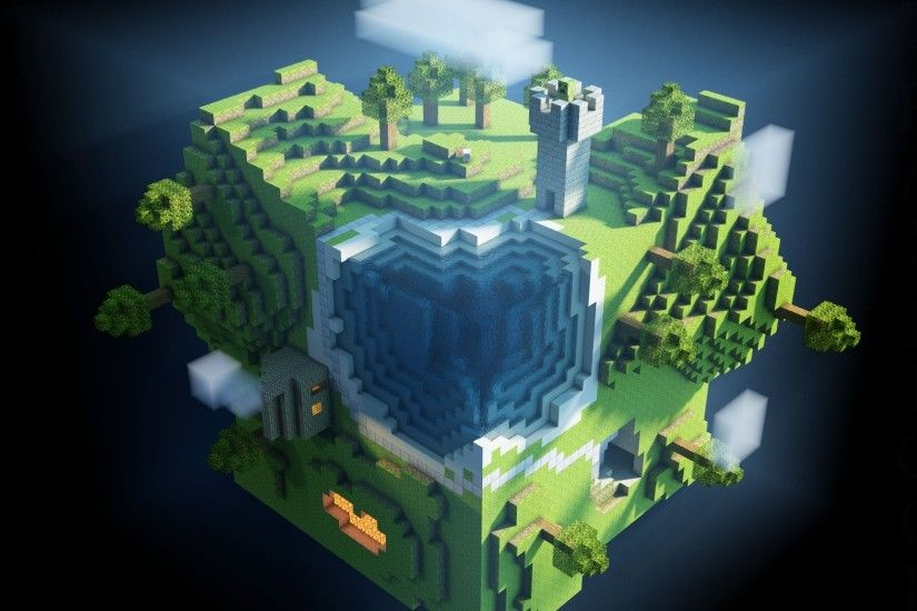 Preview wallpaper minecraft, planet, cube, cubes, world 2048x1152