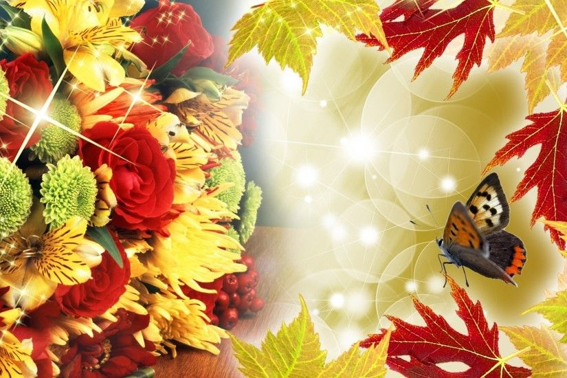 Abundance Colors Autumn Flowers Summer Gold Fall Glow Bright Fleurs Dahlia  Rose Glitter Astor Yellow Red Leaves Color Flower Wallpaper Download For  Mobile ...