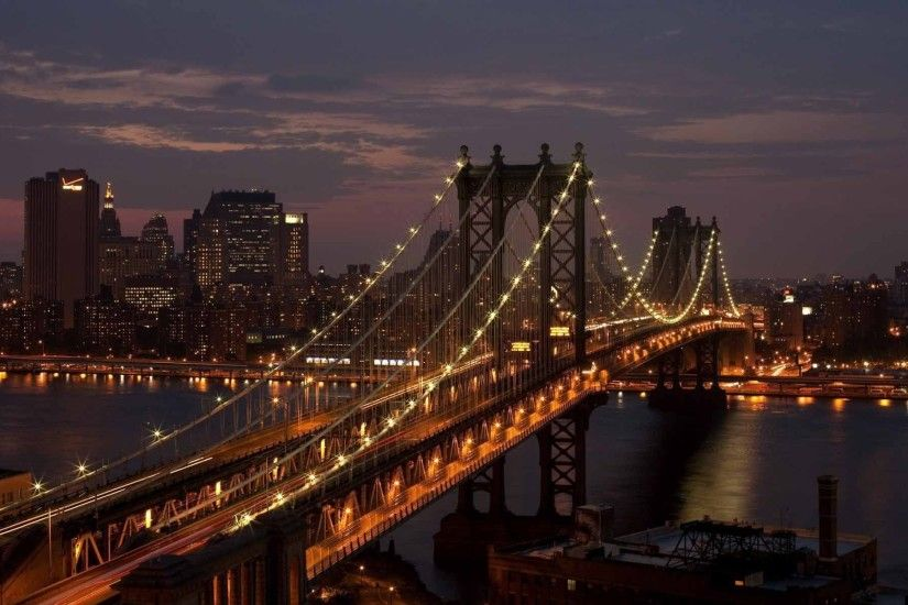Manhattan Bridge New York City Night Wallpaper | HD Travel Wallpaper Free  Download ...