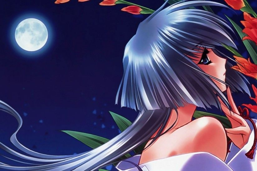 Preview wallpaper girl, pin-up, moon, flowers, night 1920x1080