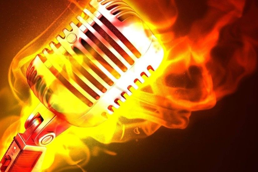 2560x1080 Wallpaper microphone, fire, flame, metal