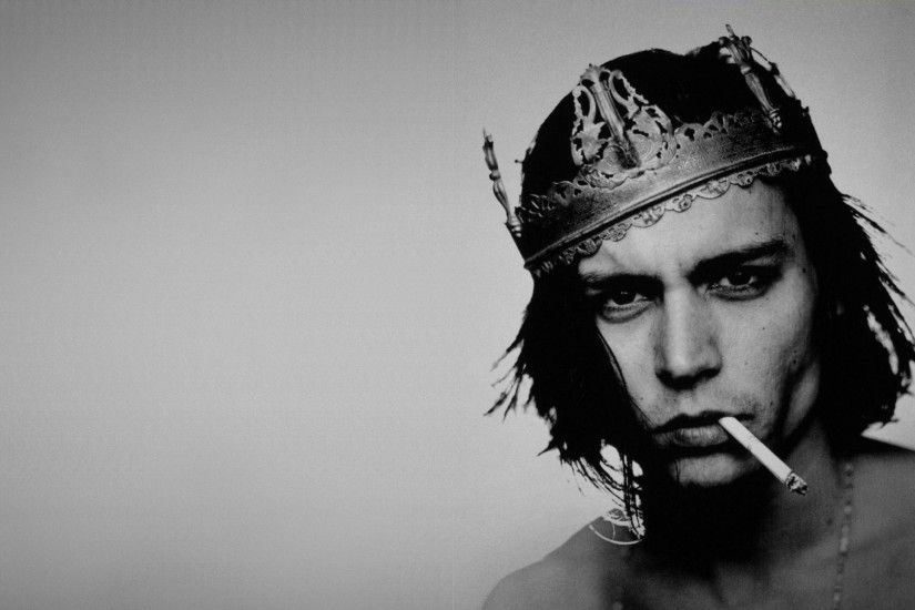 ... Preview wallpaper johnny depp actor crown cigarette bw 1920x1080