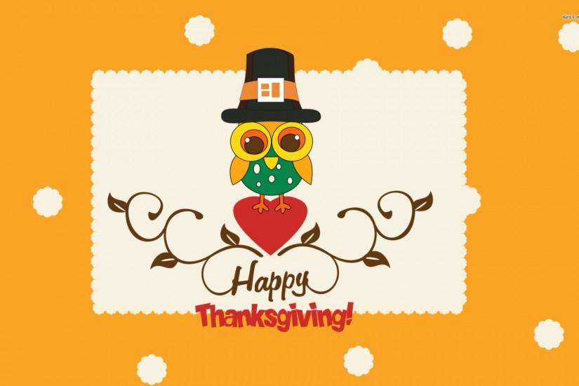Happy Thanksgiving Cute Owl FullHD Wallpaper