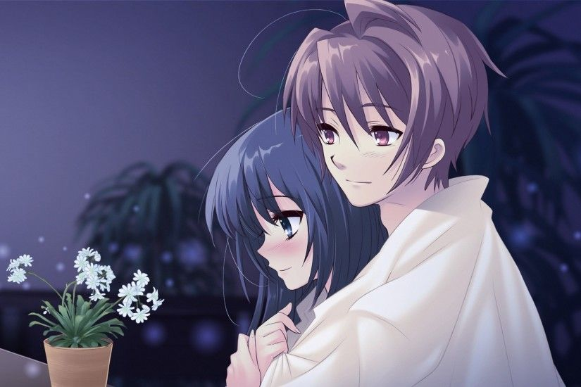 Wallpaper Anime, Boy, Girl, Pot, Flower, Hug, Tenderness