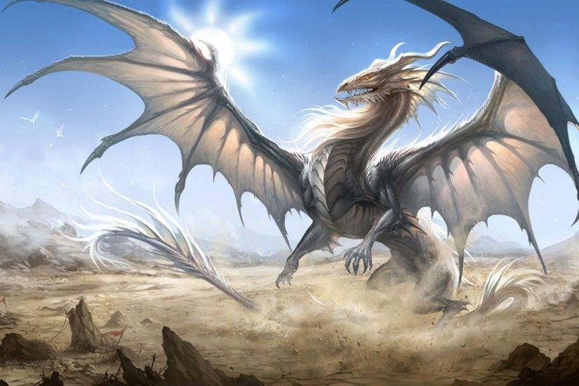 Wallpaper very huge white dragon