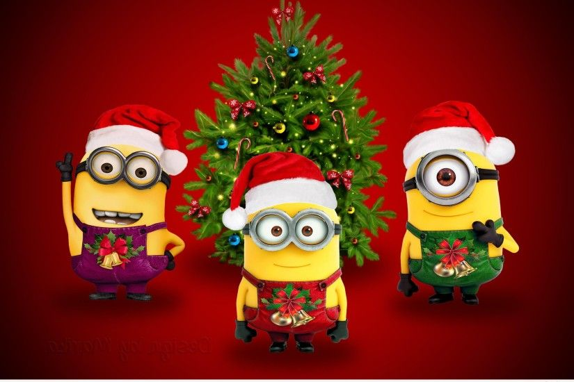 Christmas Background with funny minions