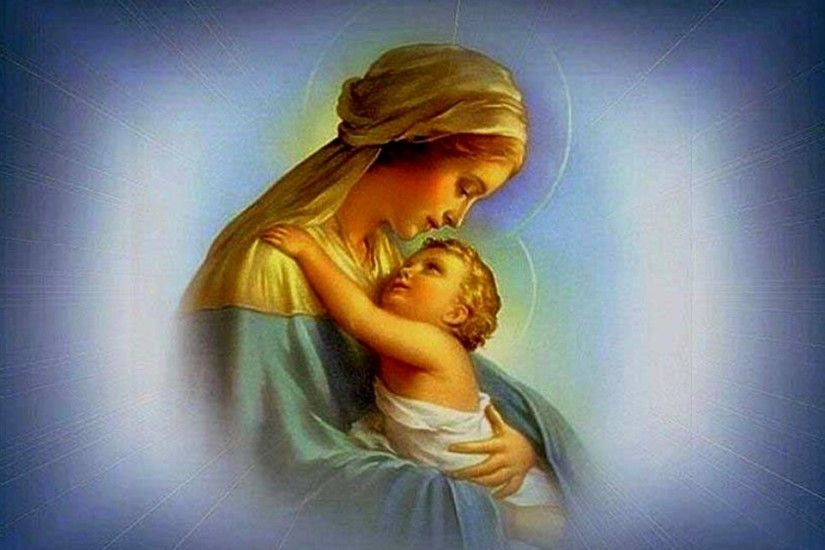 2048x1535 boy touches image of Mary and Jesus