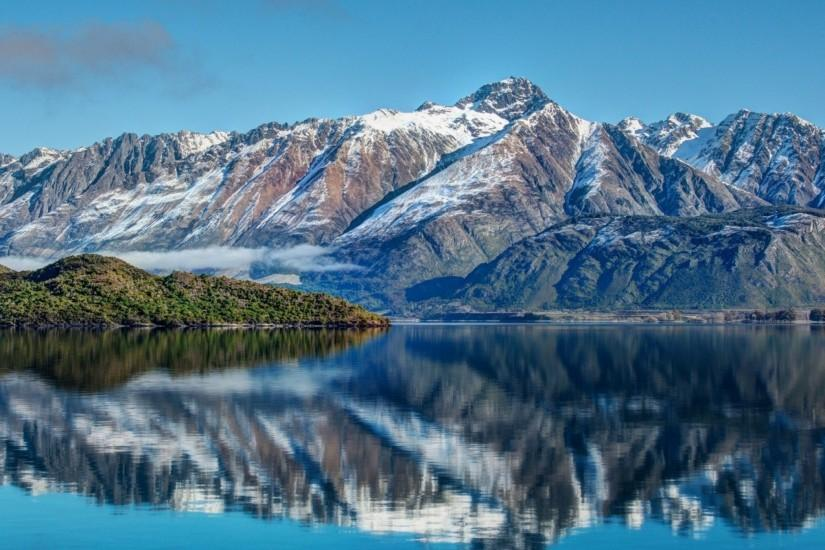 Preview wallpaper new zealand, mountains, river, sea, sky, landscape  2048x2048