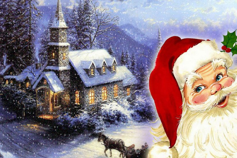 merry christmas santa claus HD wallpaper Wallpaper