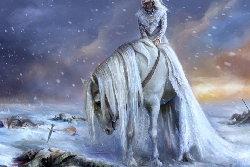 Download now full hd wallpaper white horse princess winter battlefield  blizzard ...