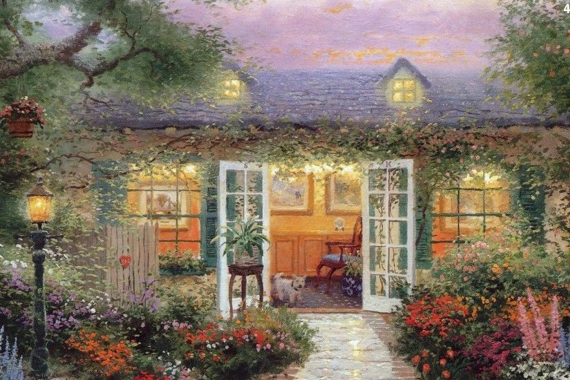 ... painting, house, Thomas Kinkade, ...