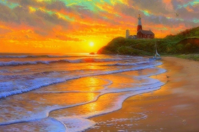 Dreams-Nature-Love -Paintings-Perfect-Attractions-Architecture-Beaches-Four-Seasons-Summer-Lighthouse- wallpaper-wpt7404080