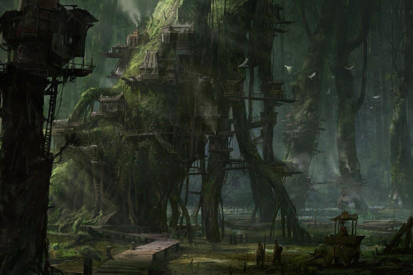 Tree Houses In The Spooky Forest Wallpaper ...