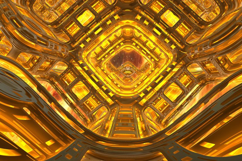 Abstract - Fractal 3D Abstract Digital Glow Orange Yellow Mandelbulb 3D  Artistic CGI Digital Art Geometry