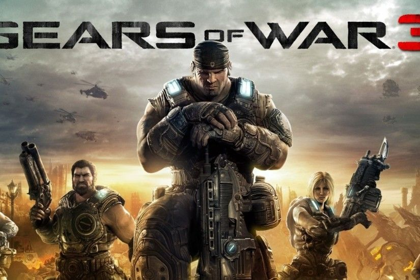 2560x1080 Wallpaper gears of war 3, characters, city, sky, gun, marcus
