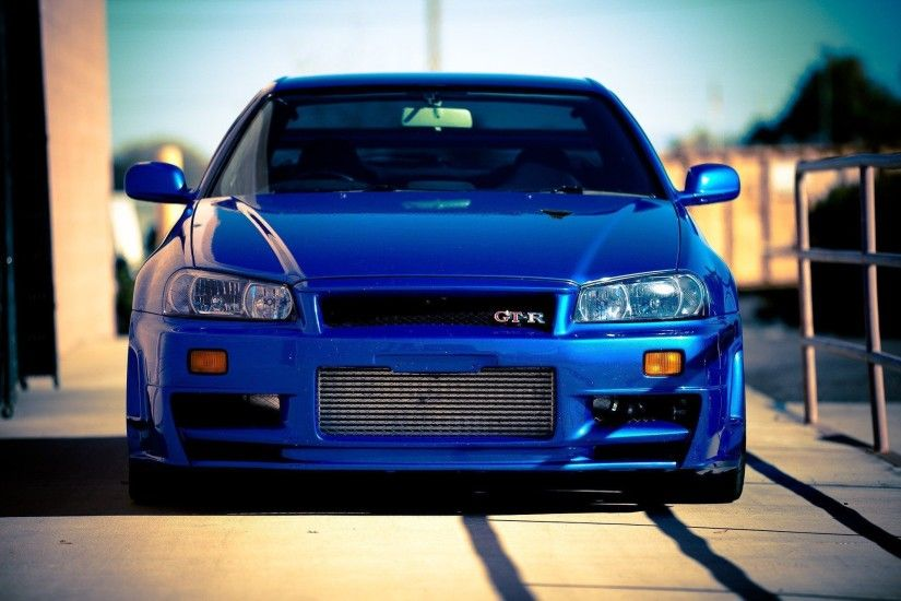 Nissan SkyLine GTR R34 car blue tuning wallpaper