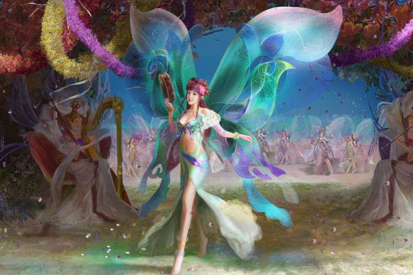 2560x1440 Wallpaper fairies, wings, musical instruments, flowers, holiday
