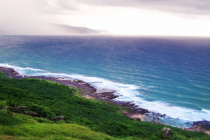 Coast Sea Blue Taiwan Ocean Seascapes Grassland Free Nature Wallpaper  Iphone - 1920x1200