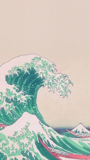 Japanese painting old wallpaper. Sea, painting, japan, ancient, iphone,  android, wallpaper.