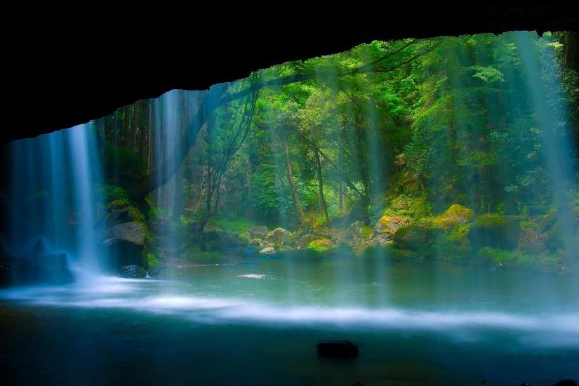 2560x1600 Wallpaper falls, stream, cave, gorge, water, wood, green,