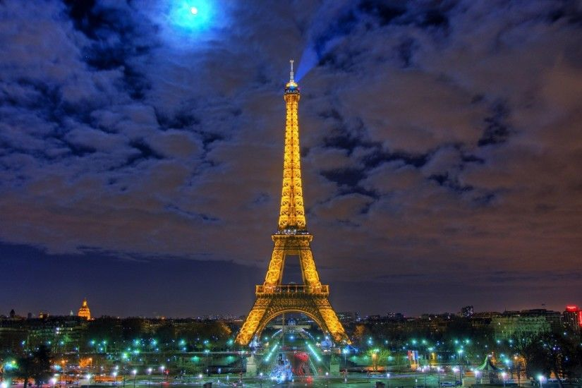 Preview wallpaper eiffel tower, paris, france, night, hdr 1920x1080