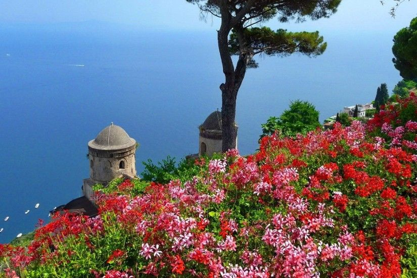 Town Italy Trees Blue Horizons Place View Sea Sky Beautiful Pretty Flowers  Ravello Destination Nice Travel Summer Beauty Water Lovely Desktop  Background ...