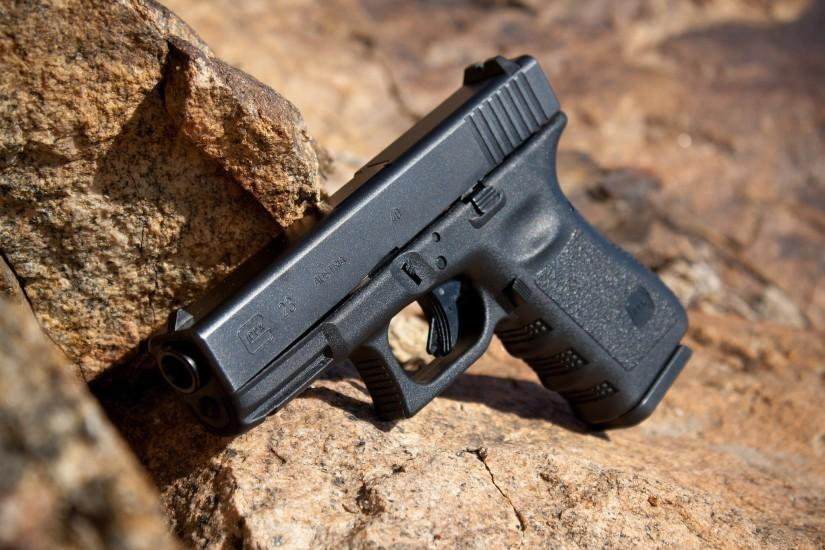 Wallpaper glock 23 semiautomatic pistol, rock, stone wallpapers weapon .