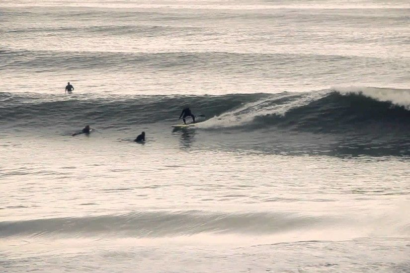 Surfing some nice waves on a big day in Socal, at sunset in Los Angeles  March 2, 2014 - YouTube
