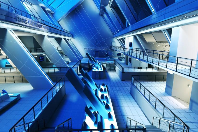 Preview wallpaper interior, room, beautiful, mirrors edge, blue 3840x2160