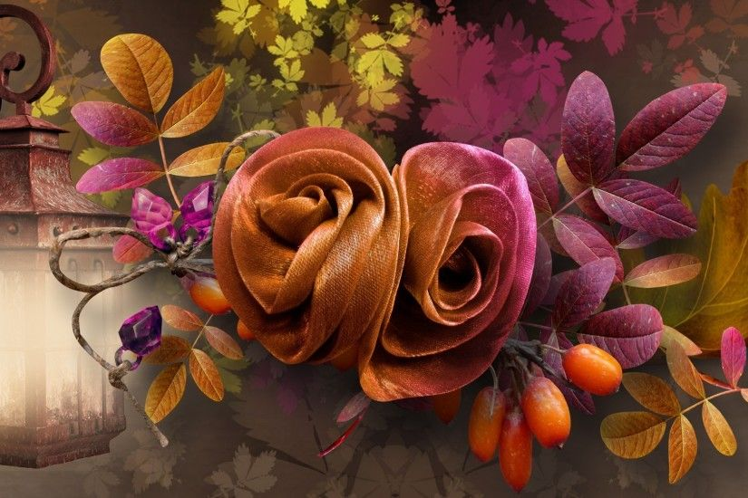Lamp Fall Berries Mauve Flowers Rope Autumn Light Roses Twine Gold Season  Leaf Leaves Flower Wallpapers For Desktop Detail
